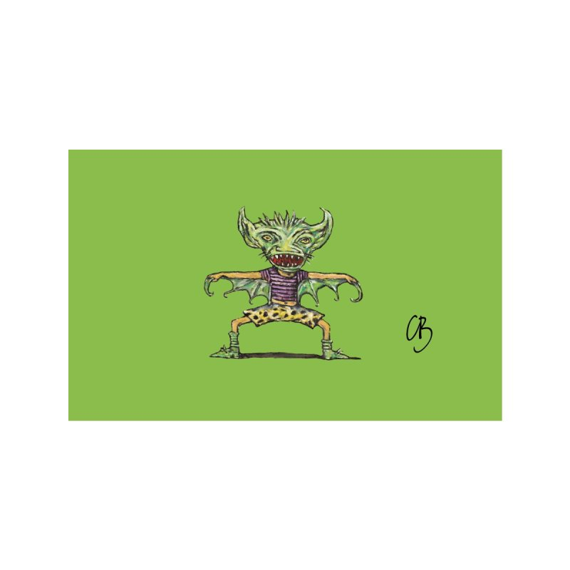 Green Demon Wearing Shorts (green) Accessories Face Mask by Clive Barker