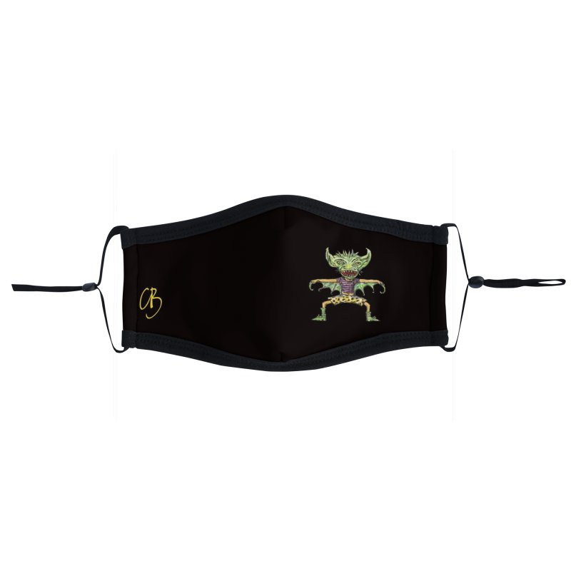 Green Demon Wearing Shorts (small, black bg) Accessories Face Mask by Clive Barker