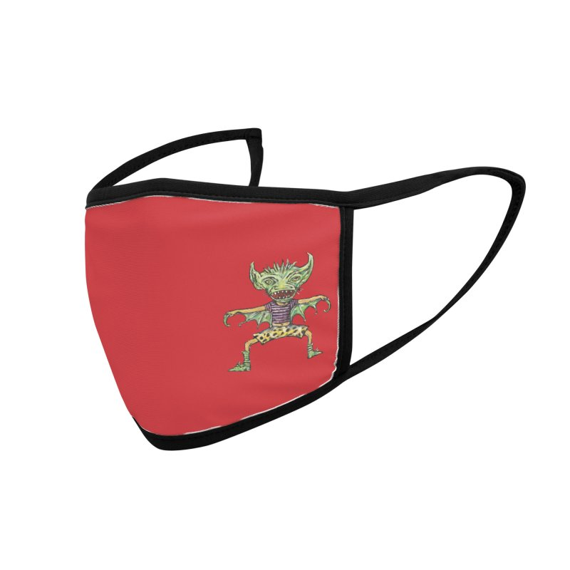 Green Demon Wearing Shorts (small, red) Accessories Face Mask by Clive Barker