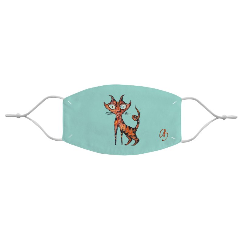 Tarrie Cat (small, turquoise) Accessories Face Mask by Clive Barker