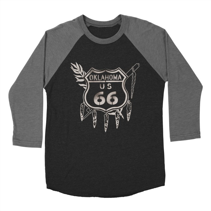 Oklahoma Route 66 Shield Men's Baseball Triblend Longsleeve T-Shirt by Cloudless Lens
