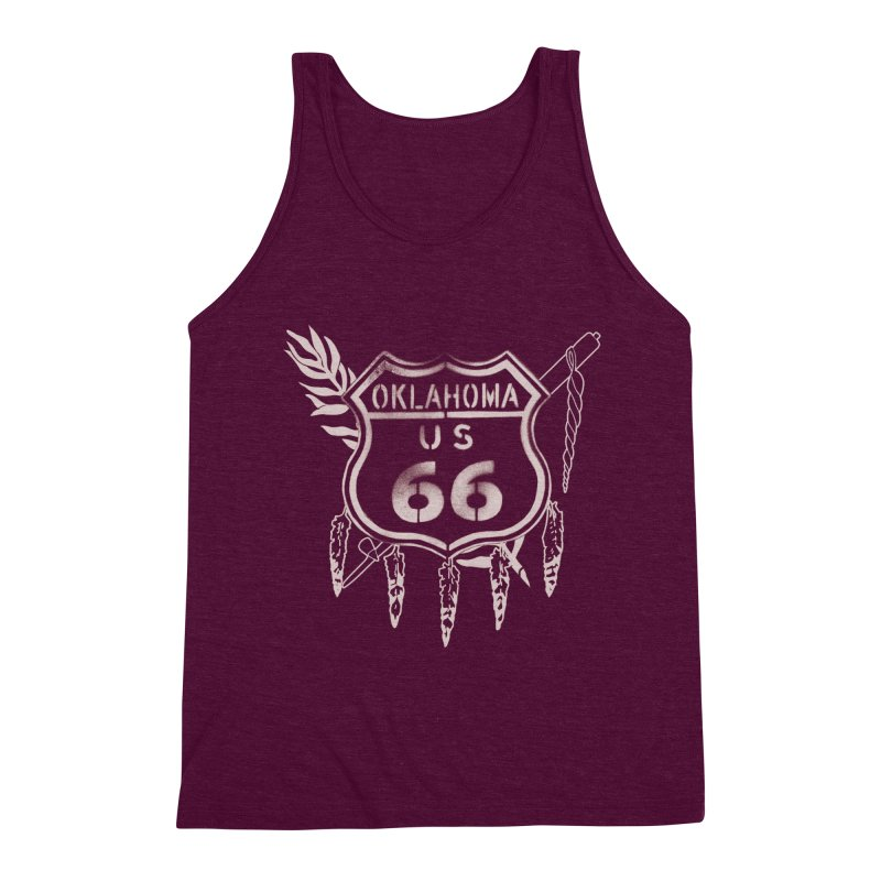 Oklahoma Route 66 Shield Men's Triblend Tank by Cloudless Lens