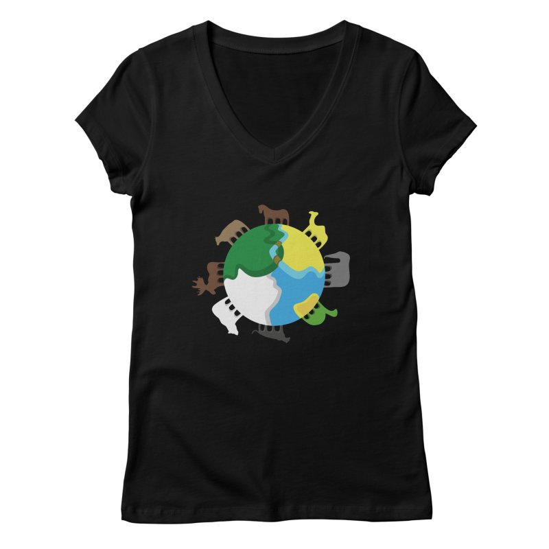 Quadruplanetism Women's V-Neck by cmaifre's Artist Shop