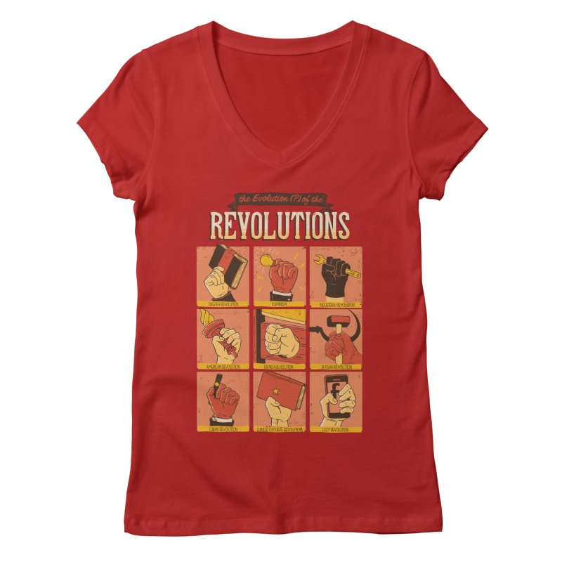 The Evolution of the Revolutions Women's V-Neck by cmatos's Artist Shop