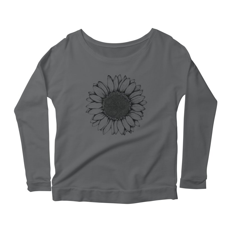 Sunflower Women's Longsleeve Scoopneck  by cmatthesart's Artist Shop
