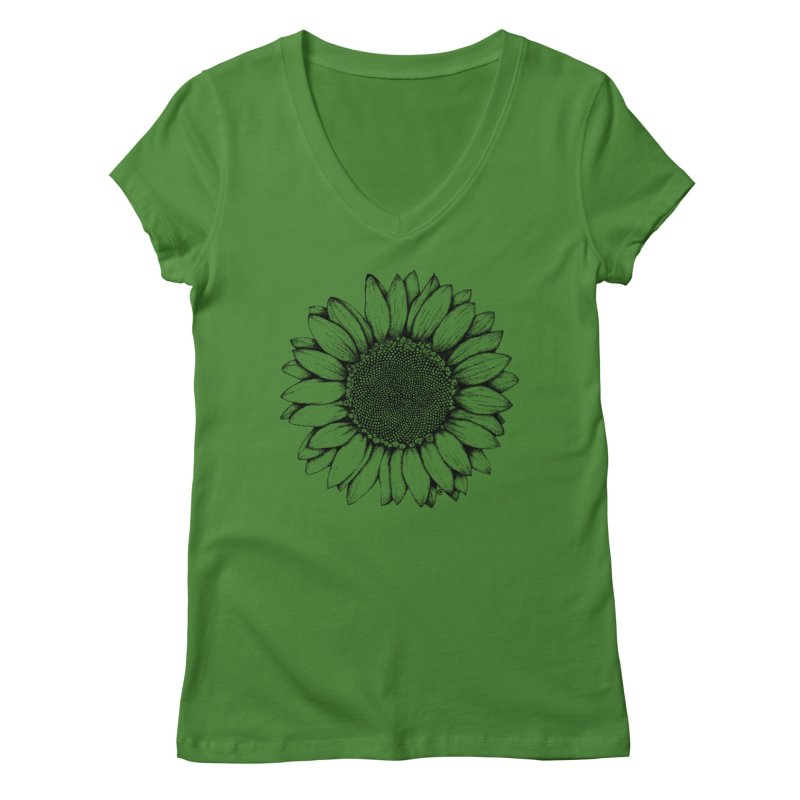 Sunflower Women's V-Neck by cmatthesart's Artist Shop