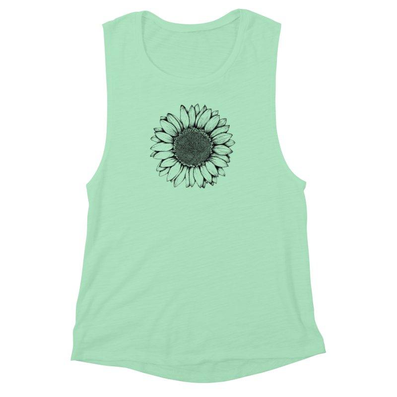 Sunflower Women's Muscle Tank by cmatthesart's Artist Shop