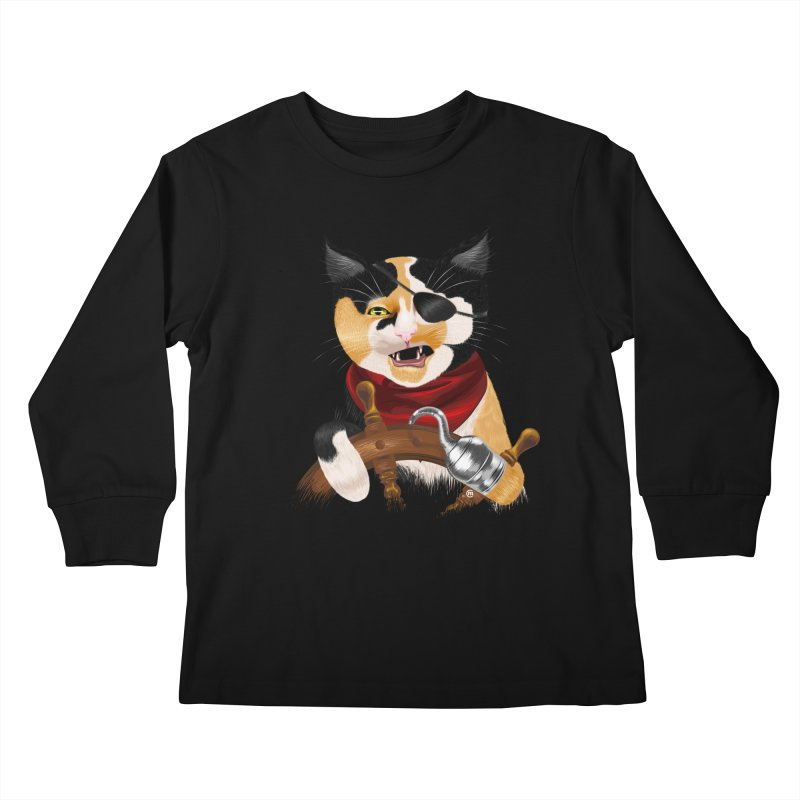 Purrrrate! Kids Longsleeve T-Shirt by cmatthesart's Artist Shop