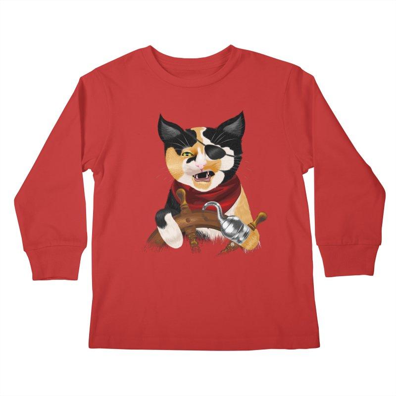 Purrrrate! Kids Longsleeve T-Shirt by cmatthesart's Artist Shop
