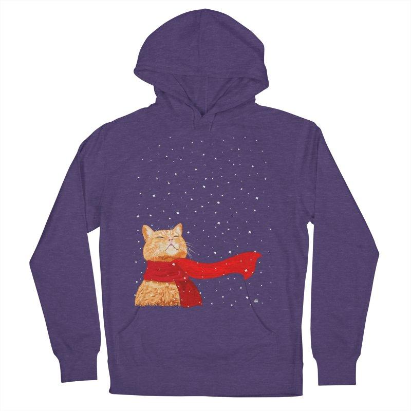 Tabby loves Snow Men's Pullover Hoody by cmatthesart's Artist Shop
