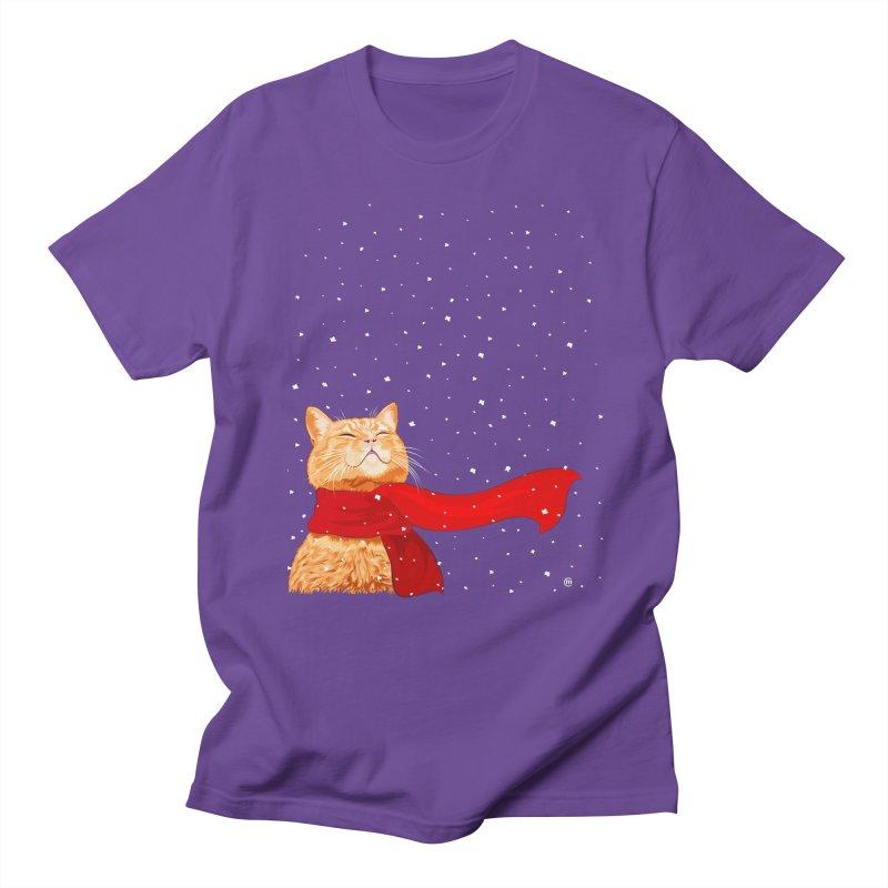 Tabby loves Snow Men's T-Shirt by cmatthesart's Artist Shop