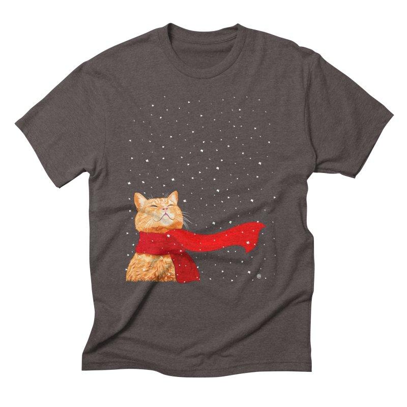 Tabby loves Snow Men's Triblend T-Shirt by cmatthesart's Artist Shop