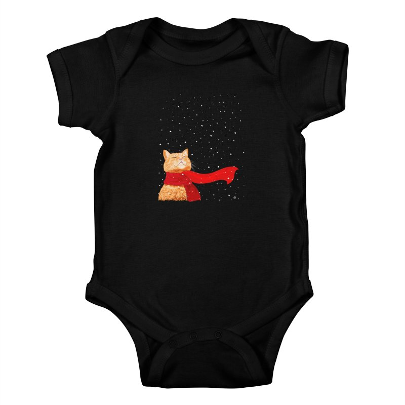 Tabby loves Snow Kids Baby Bodysuit by cmatthesart's Artist Shop