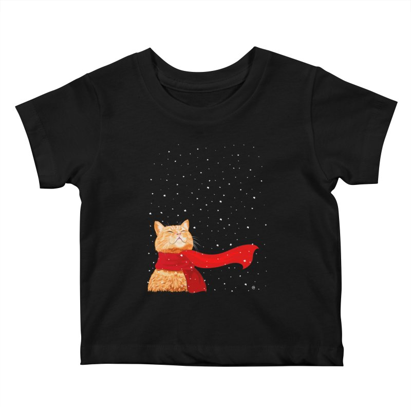 Tabby loves Snow Kids Baby T-Shirt by cmatthesart's Artist Shop