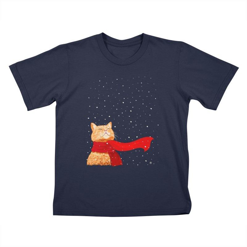 Tabby loves Snow Kids T-shirt by cmatthesart's Artist Shop