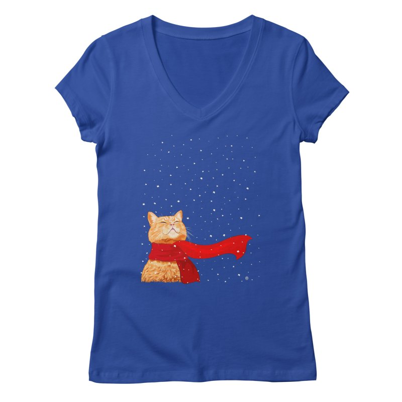 Tabby loves Snow Women's V-Neck by cmatthesart's Artist Shop