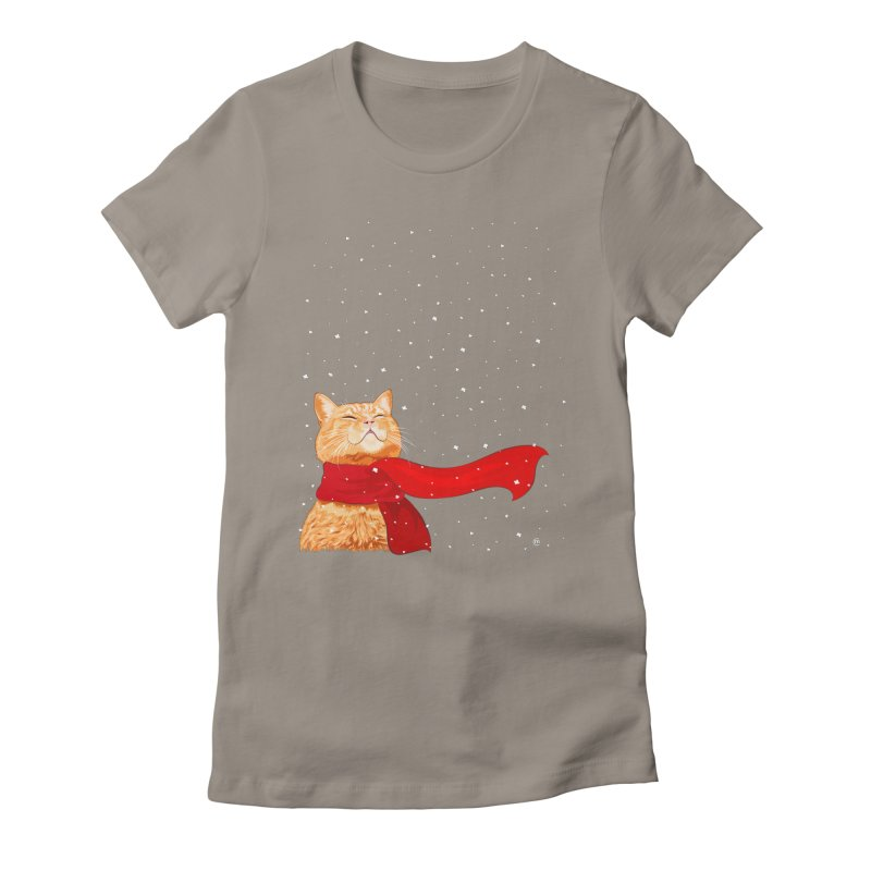 Tabby loves Snow Women's Fitted T-Shirt by cmatthesart's Artist Shop