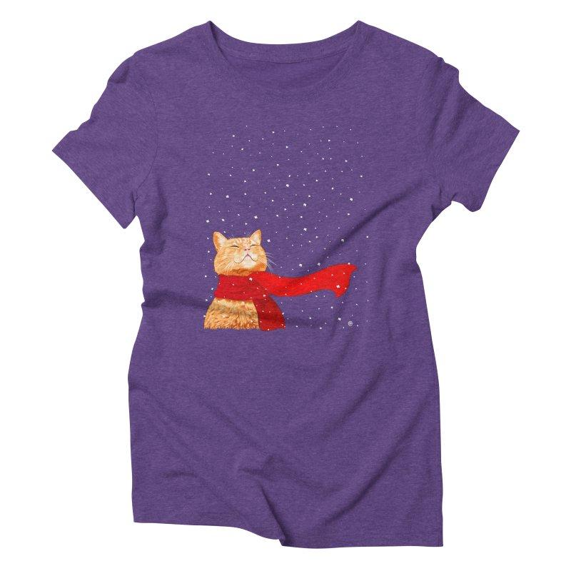 Tabby loves Snow Women's Triblend T-shirt by cmatthesart's Artist Shop