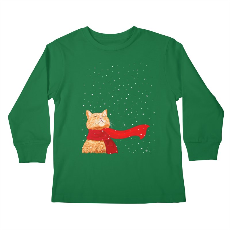 Tabby loves Snow Kids Longsleeve T-Shirt by cmatthesart's Artist Shop