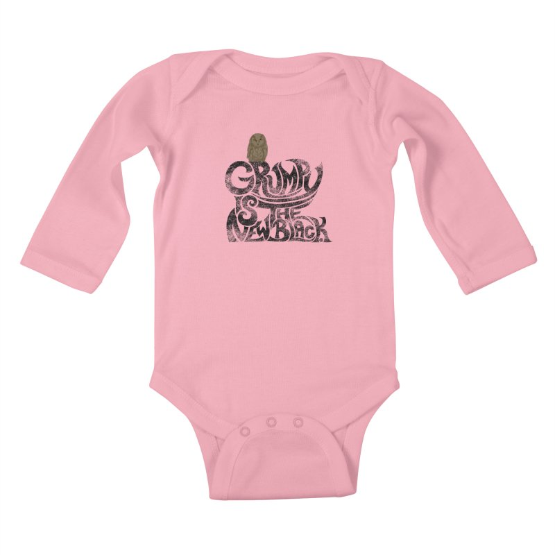 Grumpy is the new Black Kids Baby Longsleeve Bodysuit by cmatthesart's Artist Shop