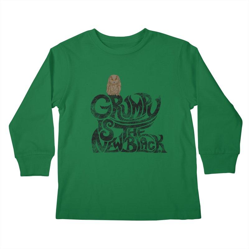 Grumpy is the new Black Kids Longsleeve T-Shirt by cmatthesart's Artist Shop