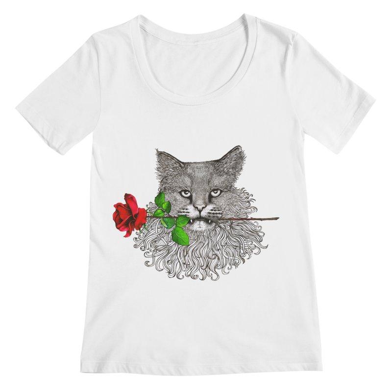 Romantic Cat Women's Scoopneck by cmatthesart's Artist Shop