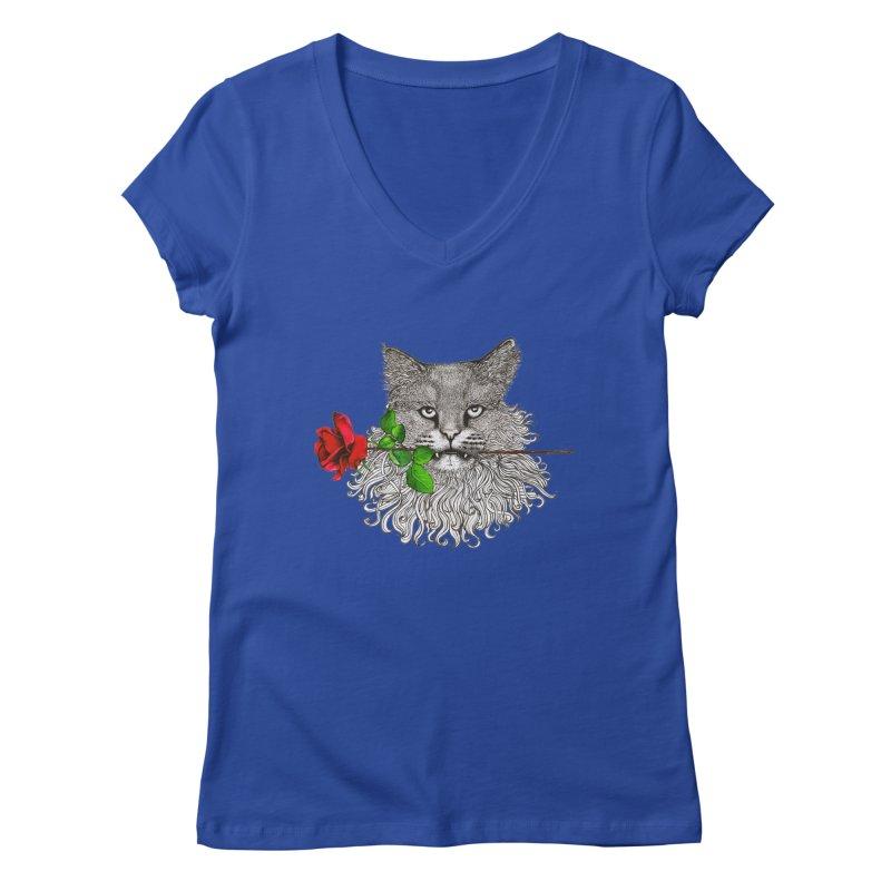 Romantic Cat Women's Regular V-Neck by cmatthesart's Artist Shop