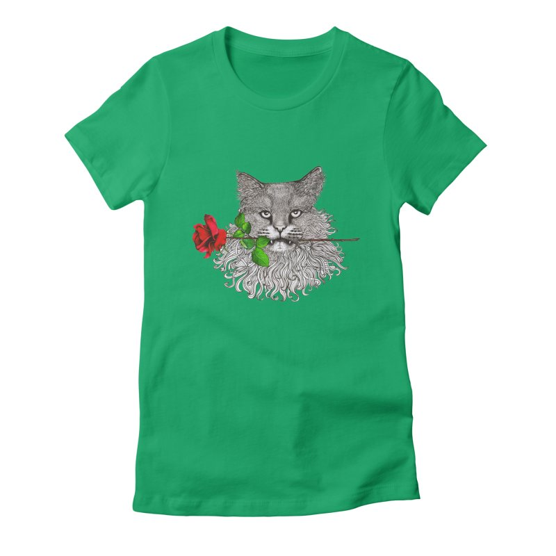 Romantic Cat Women's Fitted T-Shirt by cmatthesart's Artist Shop