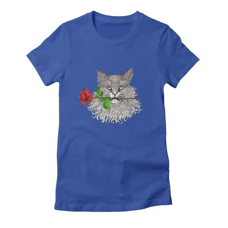 Romantic Cat Women's Fitted T-Shirt by cmatthesart's Artist Shop