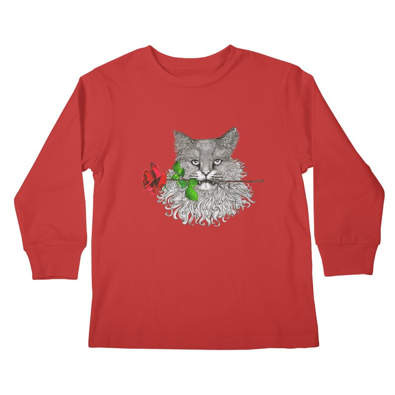 Romantic Cat Kids Longsleeve T-Shirt by cmatthesart's Artist Shop