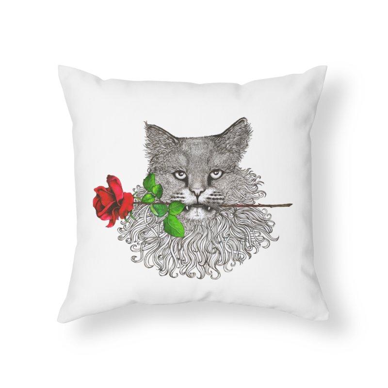 Romantic Cat Home Throw Pillow by cmatthesart's Artist Shop