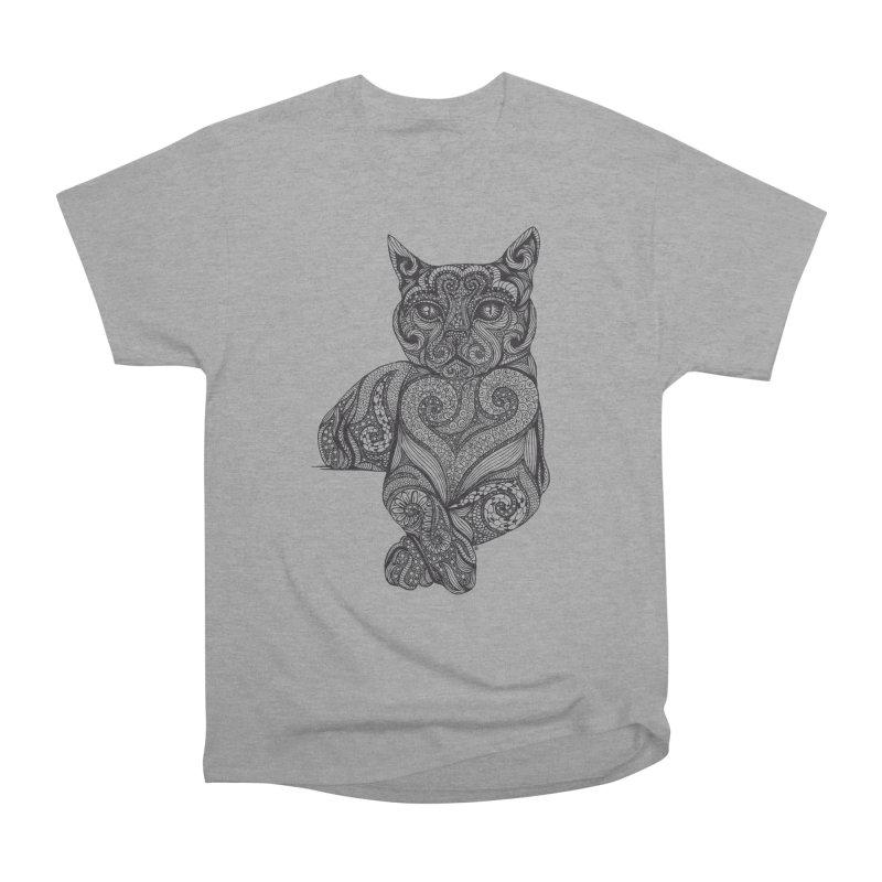 Zentangle Cat Women's Heavyweight Unisex T-Shirt by cmatthesart's Artist Shop