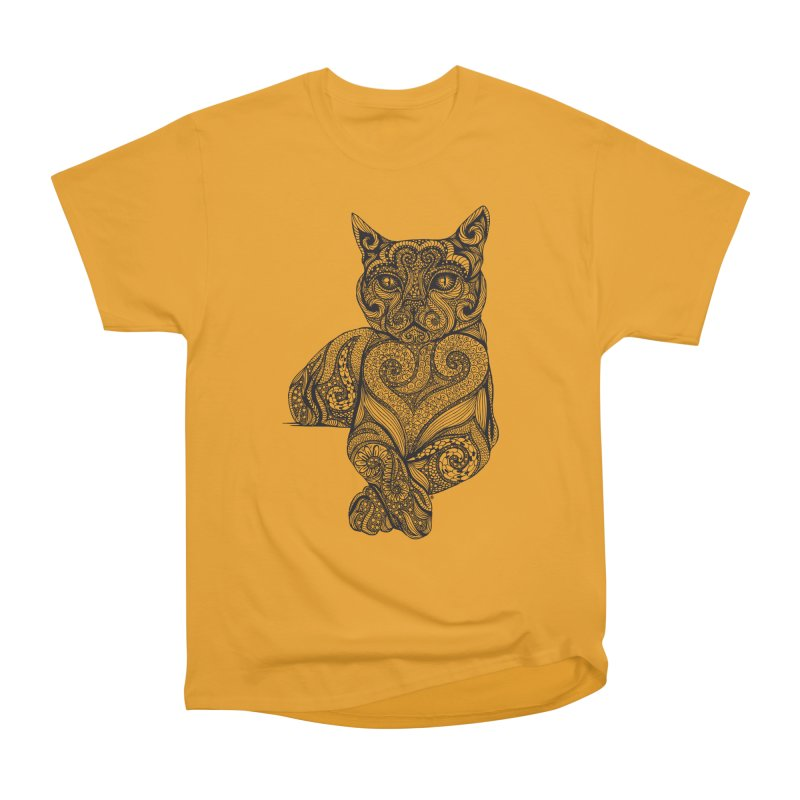 Zentangle Cat Women's Heavyweight Unisex T-Shirt by cmatthesart's Artist Shop