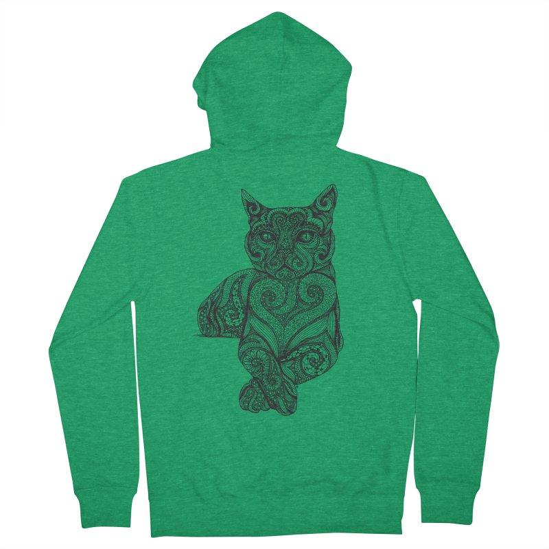Zentangle Cat Men's French Terry Zip-Up Hoody by cmatthesart's Artist Shop