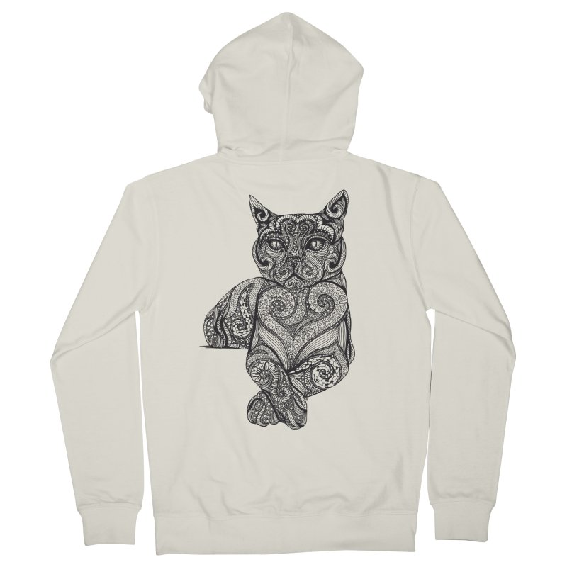 Zentangle Cat Men's French Terry Zip-Up Hoody by cmatthesart's Artist Shop