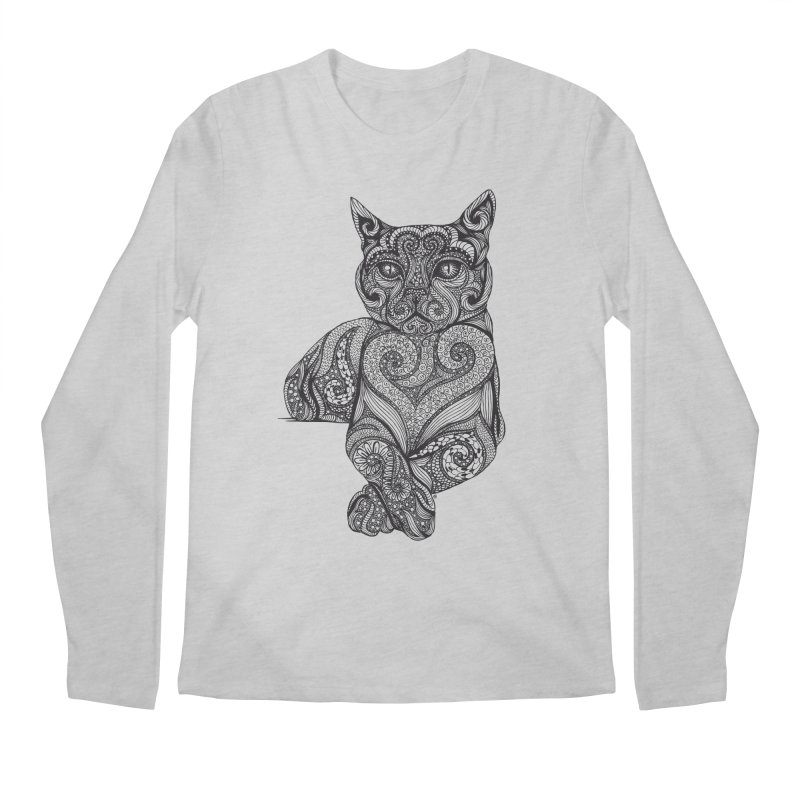 Zentangle Cat Men's Regular Longsleeve T-Shirt by cmatthesart's Artist Shop