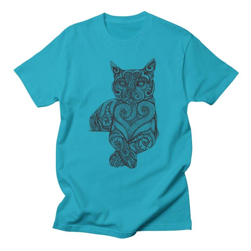 Zentangle Cat Men's Regular T-Shirt by cmatthesart's Artist Shop