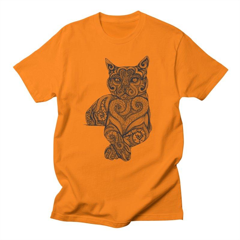 Zentangle Cat Men's T-Shirt by cmatthesart's Artist Shop