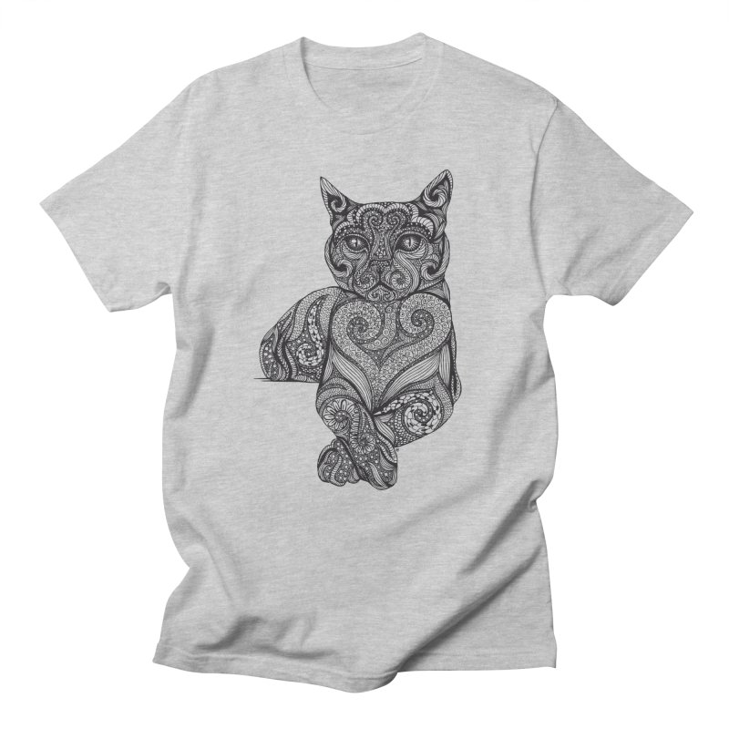Zentangle Cat Men's Regular T-Shirt by cmatthesart's Artist Shop