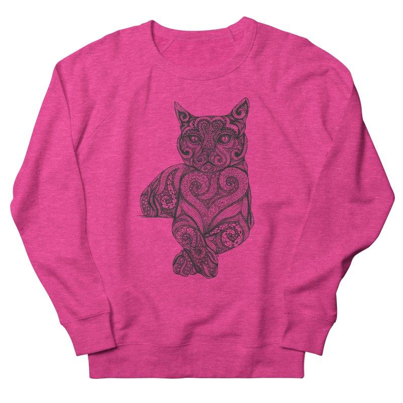 Zentangle Cat Women's French Terry Sweatshirt by cmatthesart's Artist Shop