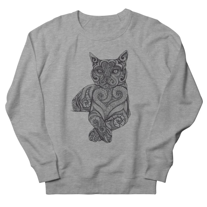Zentangle Cat Men's French Terry Sweatshirt by cmatthesart's Artist Shop