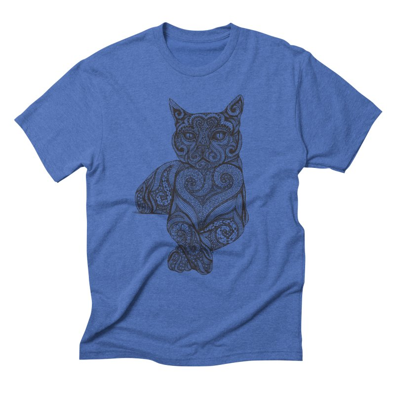 Zentangle Cat Men's Triblend T-Shirt by cmatthesart's Artist Shop