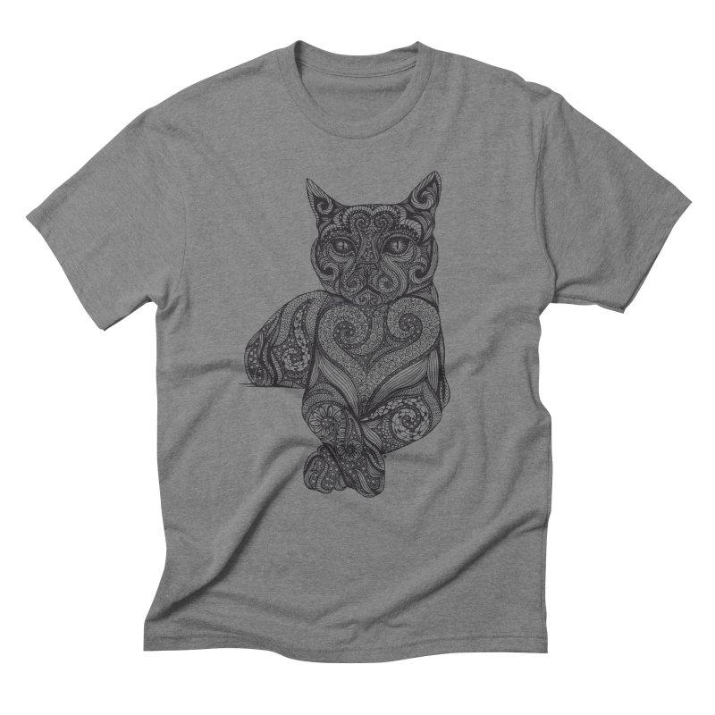 Zentangle Cat Men's Triblend T-Shirt by cmatthesart's Artist Shop