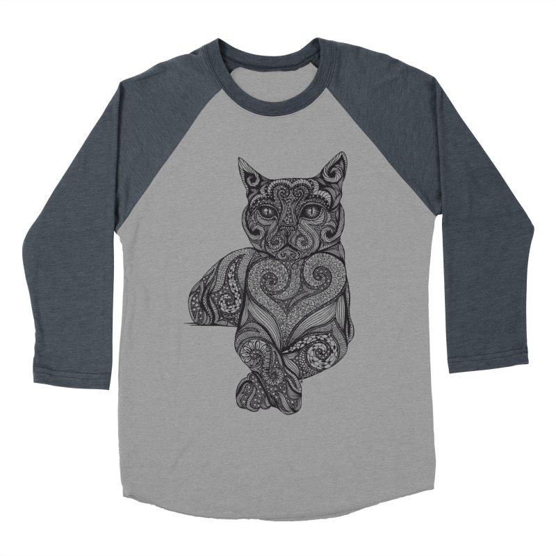 Zentangle Cat Women's Baseball Triblend Longsleeve T-Shirt by cmatthesart's Artist Shop