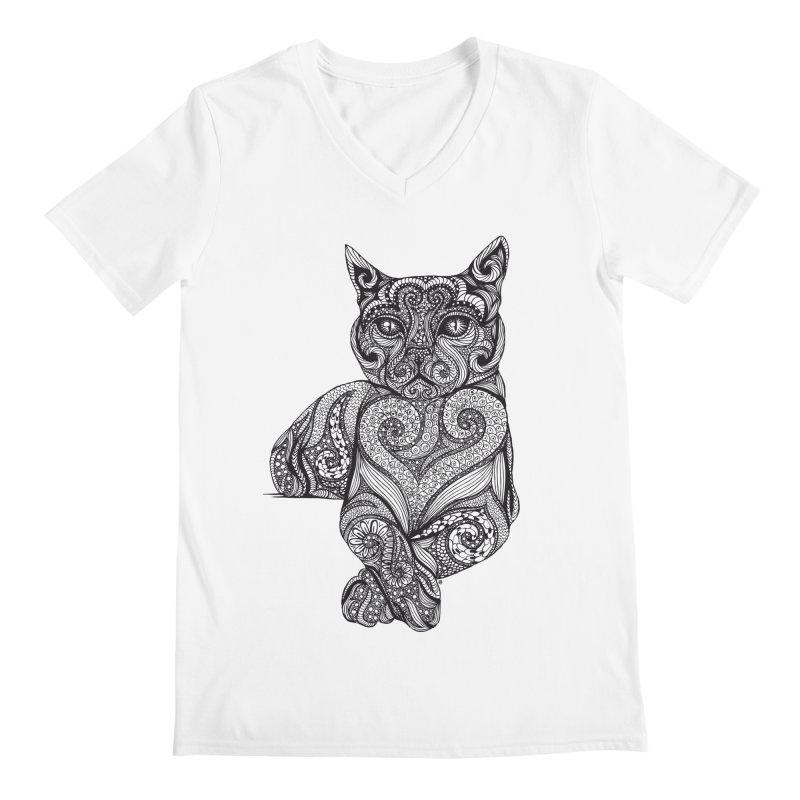Zentangle Cat Men's Regular V-Neck by cmatthesart's Artist Shop