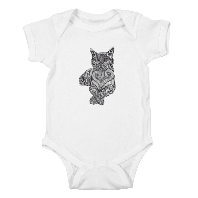 Zentangle Cat Kids Baby Bodysuit by cmatthesart's Artist Shop