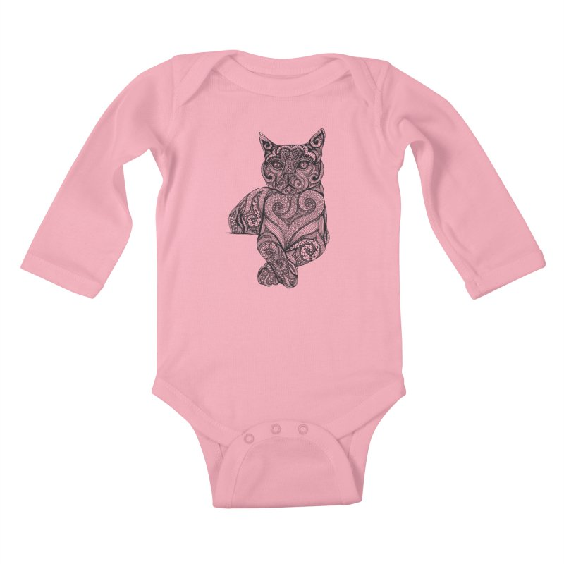 Zentangle Cat Kids Baby Longsleeve Bodysuit by cmatthesart's Artist Shop