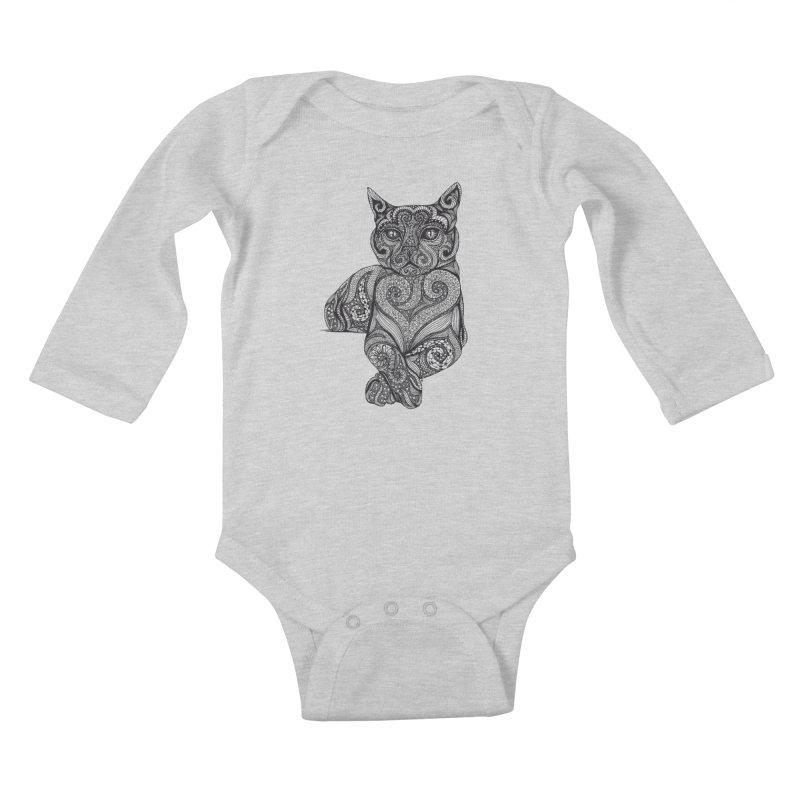 Zentangle Cat Kids Baby Longsleeve Bodysuit by cmatthesart's Artist Shop