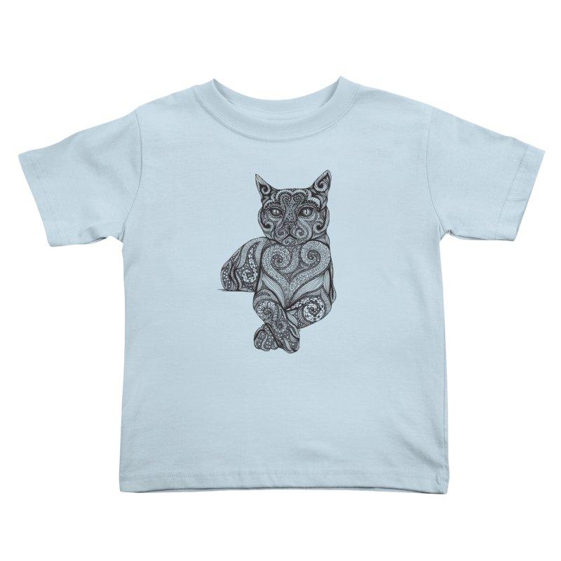 Zentangle Cat Kids Toddler T-Shirt by cmatthesart's Artist Shop