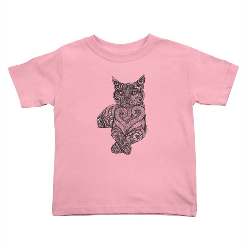 Zentangle Cat Kids Toddler T-Shirt by cmatthesart's Artist Shop